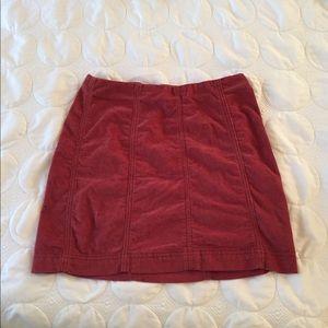 Cranberry Corduroy Mini Skirt